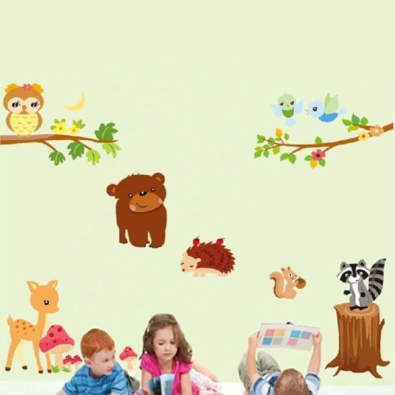 DIY Děti Nástěnné samolepky Dekorace Zvířata Owl Bear Ježek Veverka Lepicí obrazy na stěnu Vinyl