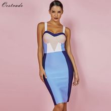 Ocstrade Summer Women Bandage Dress 2019 New Arrival Color Block Sexy Bodycon Party High Quality Knee Length Rayon