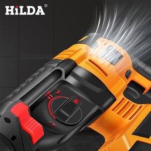 Image 5 - Hilda電動回転ハンマーコードレス電動インパクトドリルとリチウムバッテリー電源ドリルブラシレス電動ドリル電動ドリル