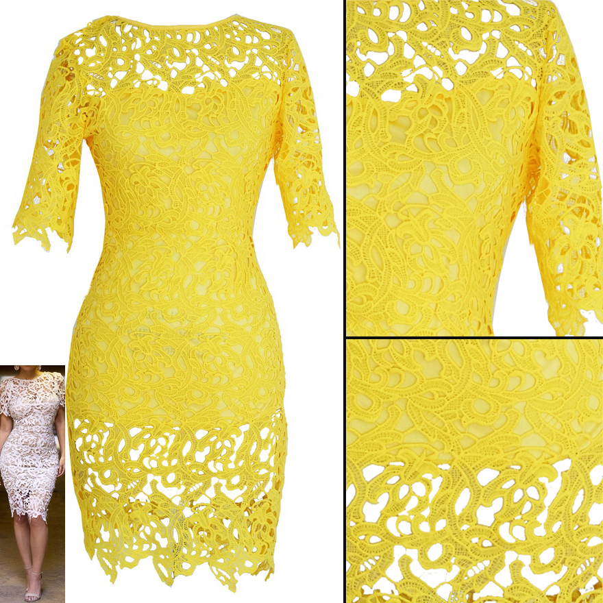 US $18.0 |Plus Size Brazil Yellow Crochet Lace Bandage Bodycon Dress  Women\'s Vintage Floral Boho Woman Midi Evening Party Pencil Dress-in  Dresses from ...