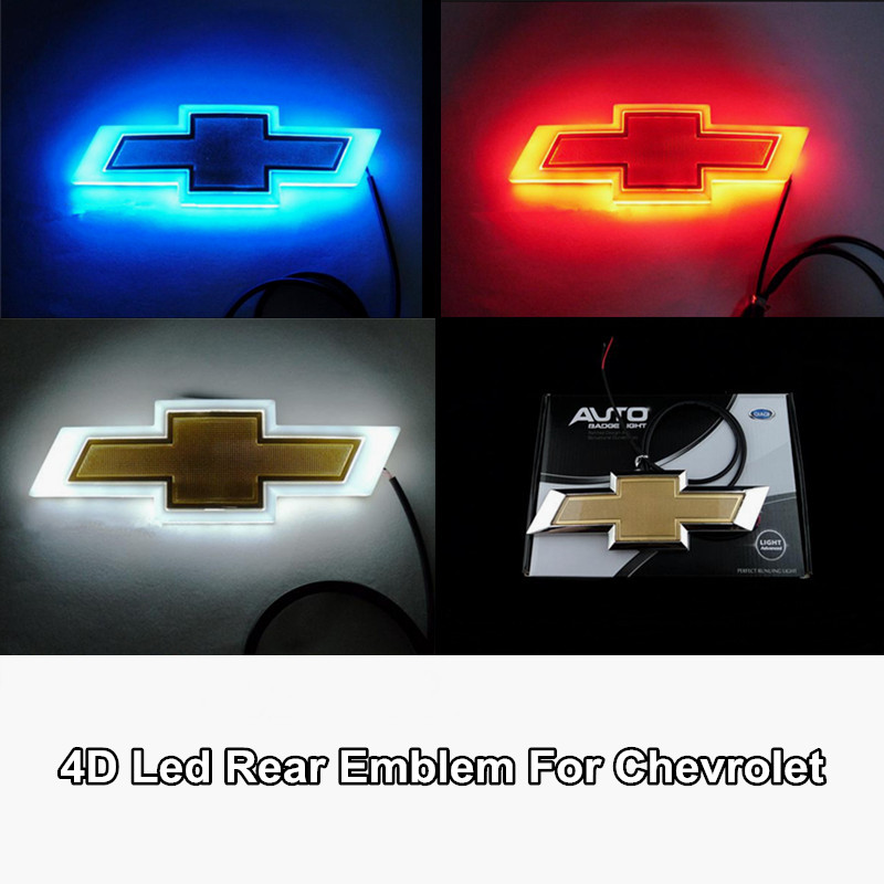 1pcs 4D Led Rear Emblem Car Logo Light for Chevrolet Cruze Malibu Epica Captiva Aveo Lova Car Led Badge Bulb Car Styling car styling 5d led rear emblem logo light car badge bulb for audi q3 q5 a1 a3 tt