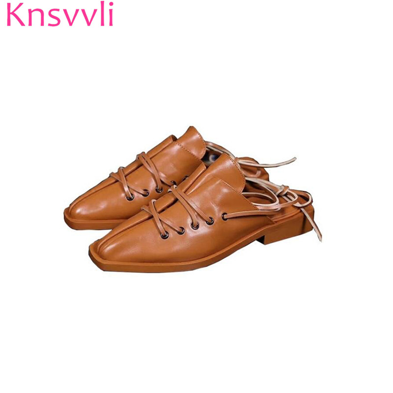 Knsvvli Wrap Toe Half slippers Woman Genuine Leather Lace-up Mules Shoes Women Slingbacks Cross Tied Retro Ladies Shoes star pattern lining turn down collar long sleeve printed button men s chambray shirt
