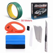 FOSHIO 50M Knifeless Tape Design Line Vinyl Wrap Tools Car Sticker Foil Film Squeegee Cutter Knife Window Tint Accessories