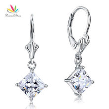 Павлин Star 3 карат Принцесса Cut CZ мотаться Твердые 925 Серебро Свадебные Серьги Jewelry CFE8103