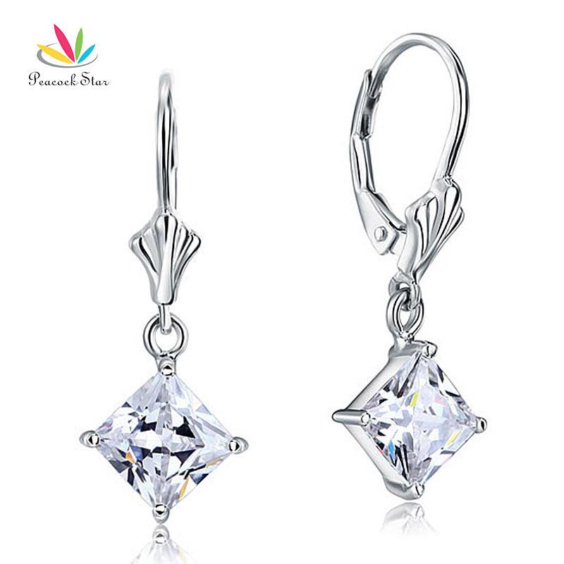Peacock Star 3 Carat Princess Cut CZ Dangle Solid 925 Sterling Silver Bridal Wedding Earrings Jewelry CFE8103