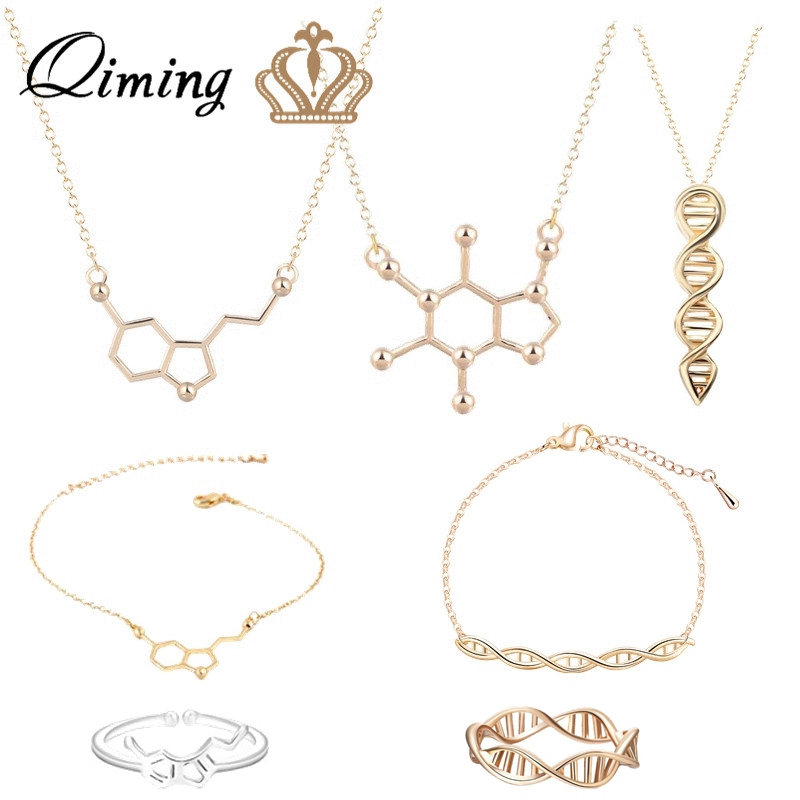 Geometric Statement Necklace Women Female Serotonin Molecule Pendant DNA Polygon Caffeine Chain Necklace Jewelry Gift For Girls