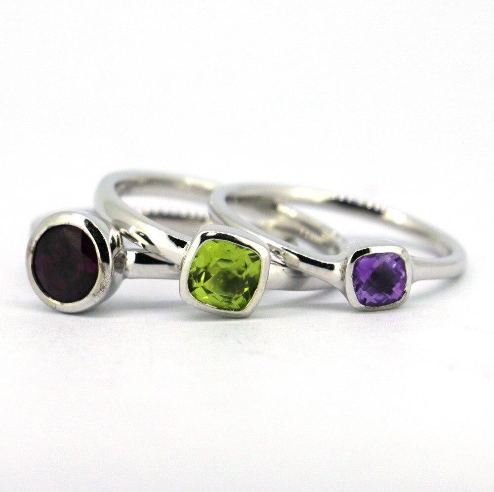 3pcs/set Solid 925 Sterling Silver&Natural Garnet,PeridotAmethyst Stones Stack Ring