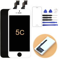 1pcs 100% test No Dead pixel lcd For iPhone 5C lcd display with Touch Screen Digitizer Assembly Black&White +Frame+Camera