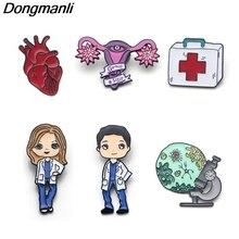 P3607 Dongmanli медсестры доктор эмаль булавки броши значок микроскоп аптечка сердце матка Мередит серый медицинские украшения