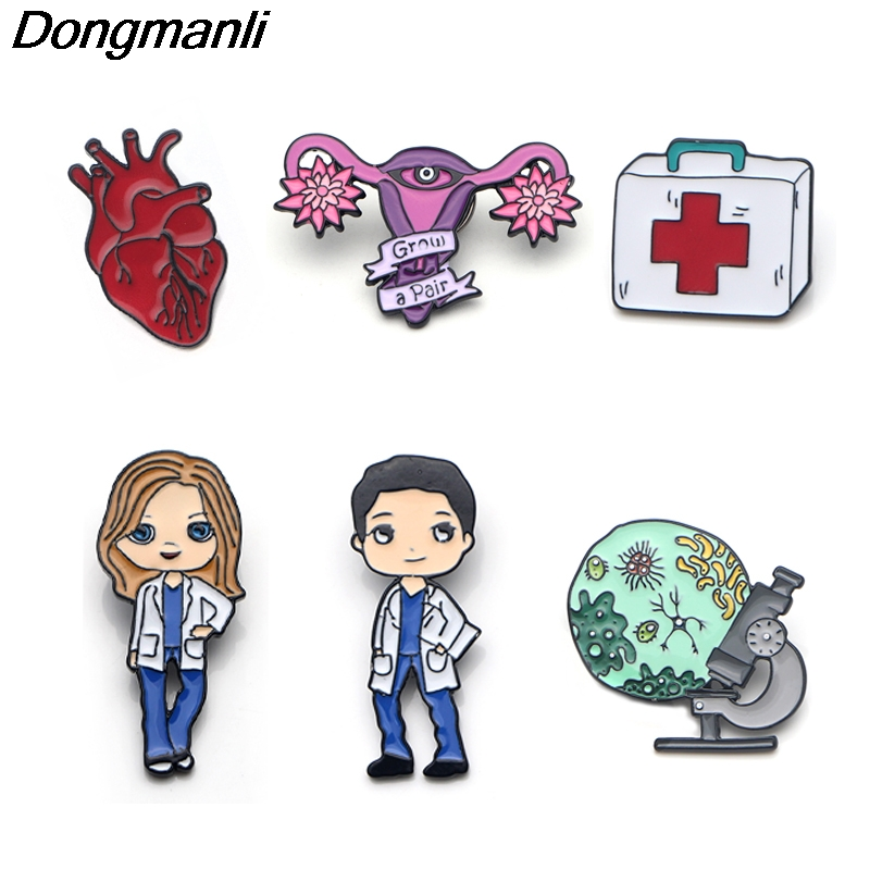 P3607 Dongmanli Nurse Doctor Enamel Pins Brooches badge Microscope First Aid Kit Heart Uterus Meredith Grey Medical Jewelry(China)
