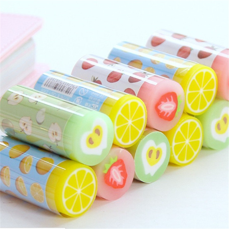 1pcs Cartoon Stationery Eraser For Study Cute Ffruit Series Rubber Earsers Office School Writing Correction Supplies