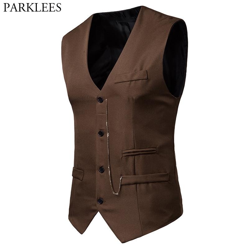 Mens Vintage Chain Decoration Gentleman Vest 2019 Brand New Slim Fit Single Breasted Waistcoat Men Business Casual Gilet Homme