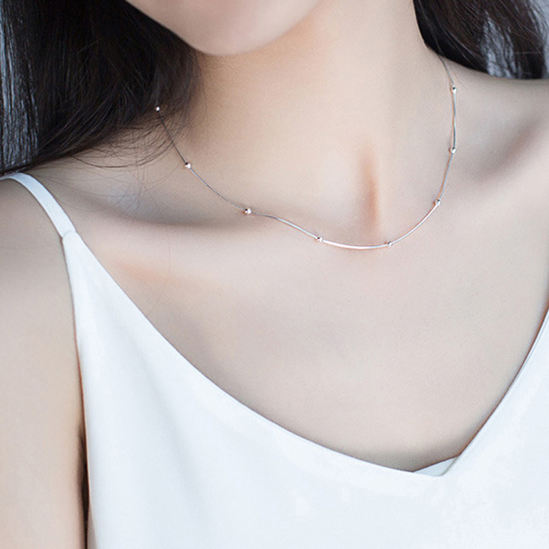 2019 New Genuine 925 Sterling Silver Snake Chain Choker Necklace For Women Round Lucky Bead Short Chain Fine jewelry2019 New Genuine 925 Sterling Silver Snake Chain Choker Necklace For Women Round Lucky Bead Short Chain Fine jewelry