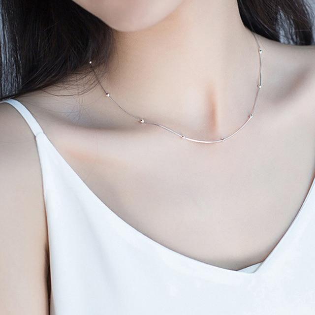Genuine 925 Sterling Silver Simple Snake Chain Necklace Women&Men Fine Minimalis