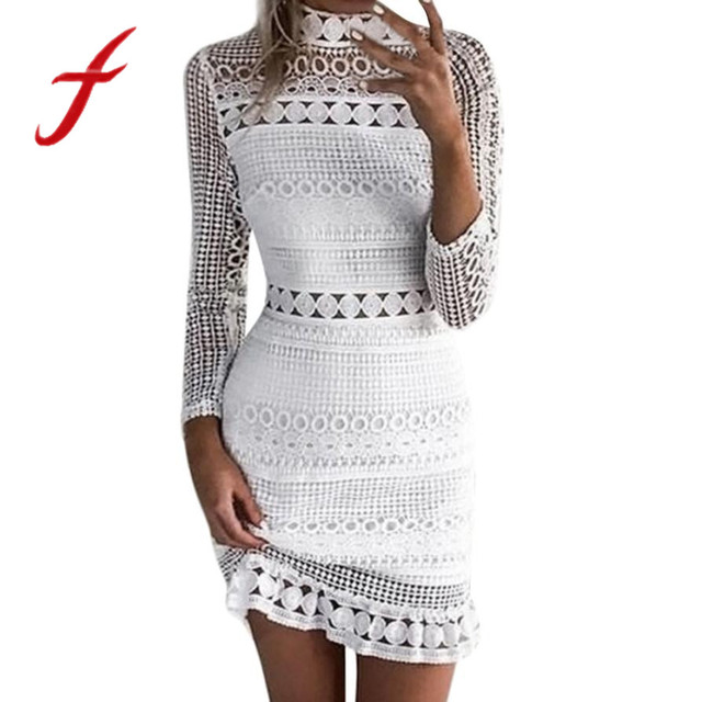 Feitong Womens Dress Ladies Sexy Long Sleeve Lace Hollow Out Bodycon  Cocktail Party Pencil Mini Dress Bandage Dresses vestidos 8a41819aac9f