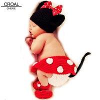 Kawaii Crochet Baby Photography Props Handmade Knitted Newborn Photos Hat Shoes Skirt Kids Cap Girls Cute