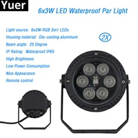Free Shipping 2Pcs/Lot 6x3w Remote control flat par led waterproof IP65 par light 6x3W Smooth RGB 3in1 Color Mixing Stage Wash