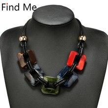 Find Me модное массивное ожерелье и кулоны с кожаным шнуром, винтажное плетение воротника, колье, ожерелье для женщин, ювелирные изделия