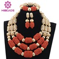 Coral Nigerian Wedding African Beads Jewelry Set Bridal Gold Necklace Set Turquoise Party Ceremony Jewelry Free Shipping WD777