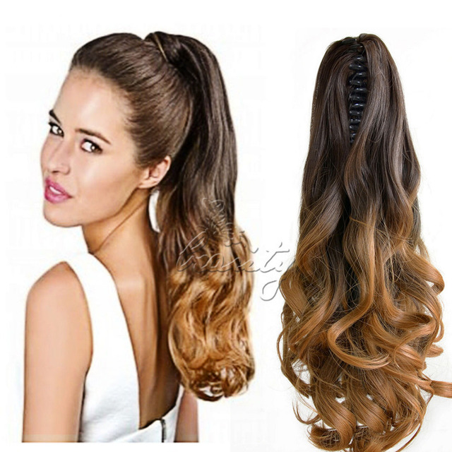 New 20 Synthetic Hair Long Wavy Claw Clip On Ponytail Haie