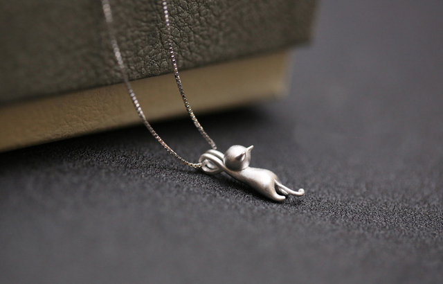 925 Sterling Silver Cute Cat Necklace