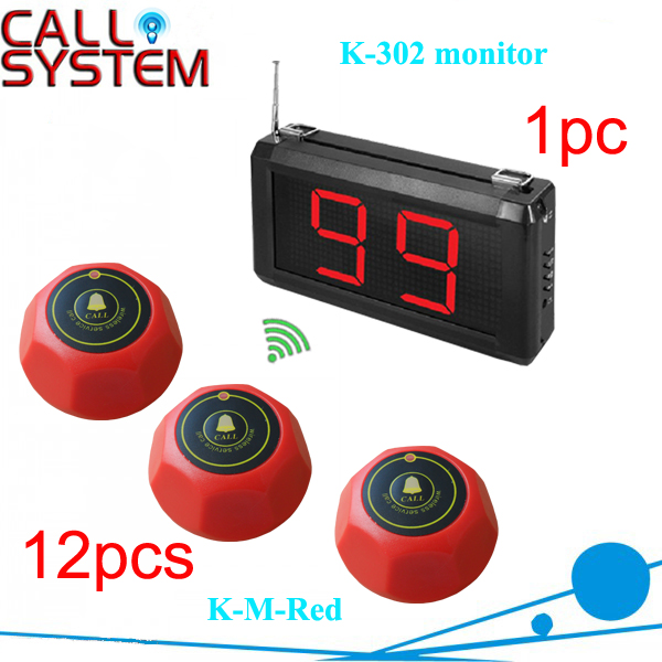 Call Button Waiter System 12 Room caller bell with 1 display panel for KFC, KTV, Tea House wireless waiter bell system ycall brand with ce passed 433 92mhz 1 display 1 wrist pager 20 call button
