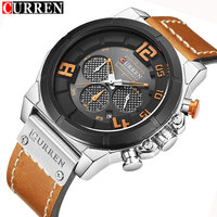 CURREN Mens Watches Top Brand Luxury Chronograph Men Watch Leather Sport Military Male Clock Waterproof Relogio