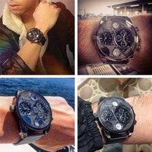 Luxury Watches Men Mesh Steel Genuine Leather Quartz Watch Big Design Male Casual Military Wristwatch