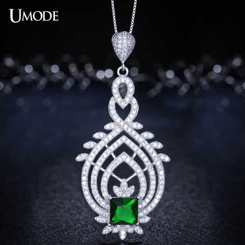 UMODE Vintage Royal Token Genuine 925 Sterling Silver with Green Stone Pendant Necklaces YN0005