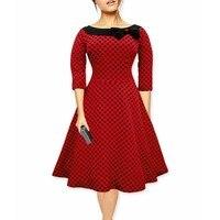 Audrey Hepburn vintage Tupfen bogen neck schwingen baumwolle kleid frauen beiläufige rockabilly 50 s kleider robe vestidos de Fiesta