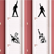 Queen Band Freddie Mercury Music Rock Vinyl Door Vinyl Stickers Living Room Wallpaper For Bedroom Decoration Decal(China)