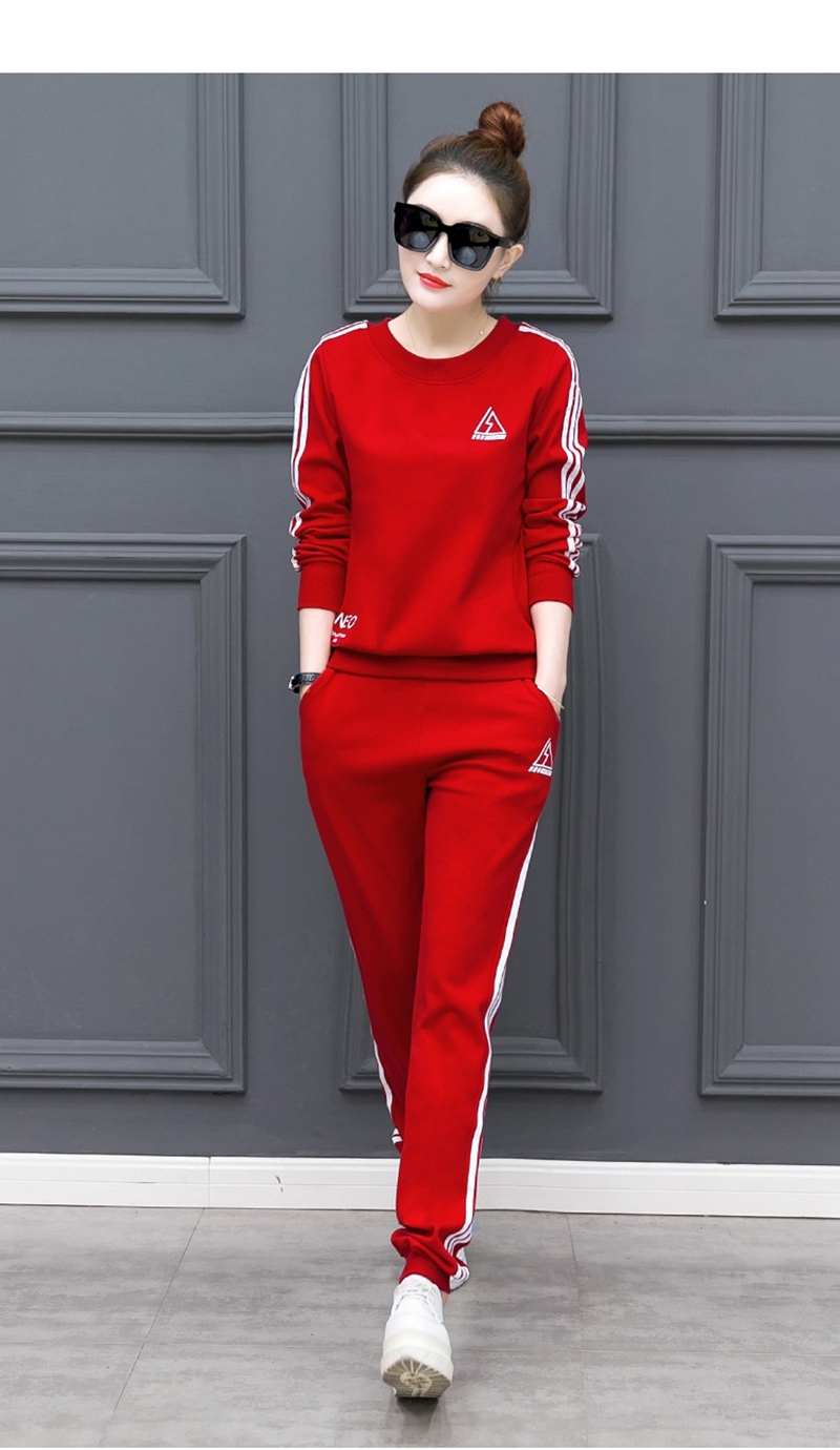 Women Jumpsuits Autumn Korean version of the sportswear suit women's casual long-sleeved slim two-piece suit
