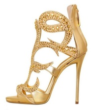 Gold Crystal Metallic Leather Sandals High Heel Back Zipper Cage Shoes Peep Toe Women Pumps Cut-out Gladiator Sandals Boots