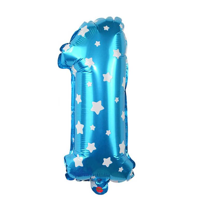 1 piezas bebé 1st cumpleaños número globo primero Feliz cumpleaños globo de la hoja/rosa/azul/blanco/rosa de oro de cumpleaños de bebé decoración de fiesta de niño niña