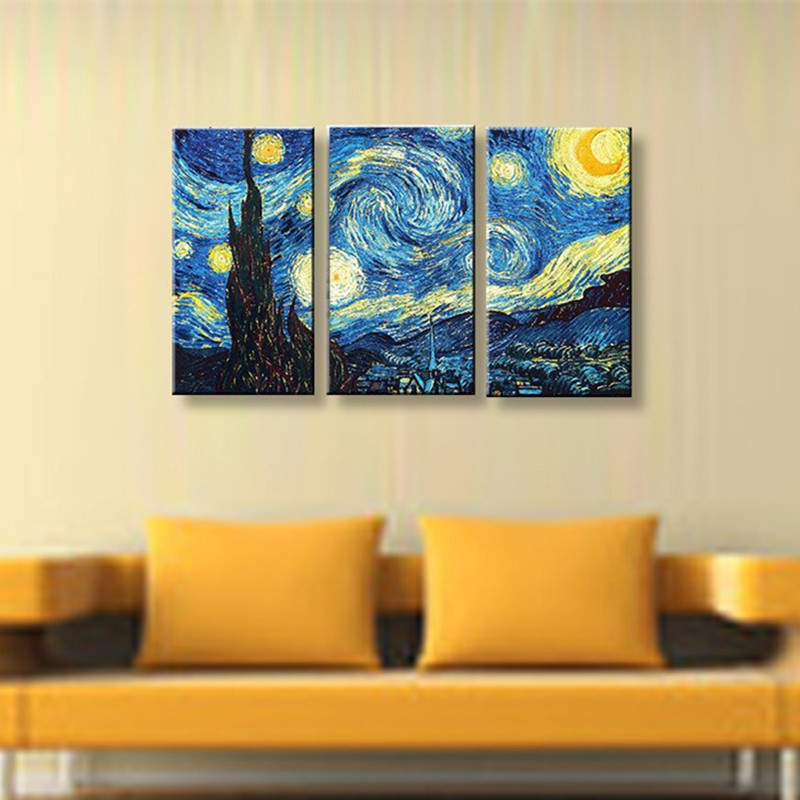 3 Panel Pictures Sets Modern Home Decor Wall Art Handpainted Blue ...