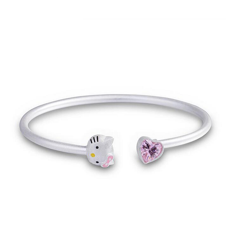 Fashion Silver Color Pink Crystal Cute Cat Open Bangle For Girl Children Women Female Adjustable Bracelet Accessory Jewelry B105