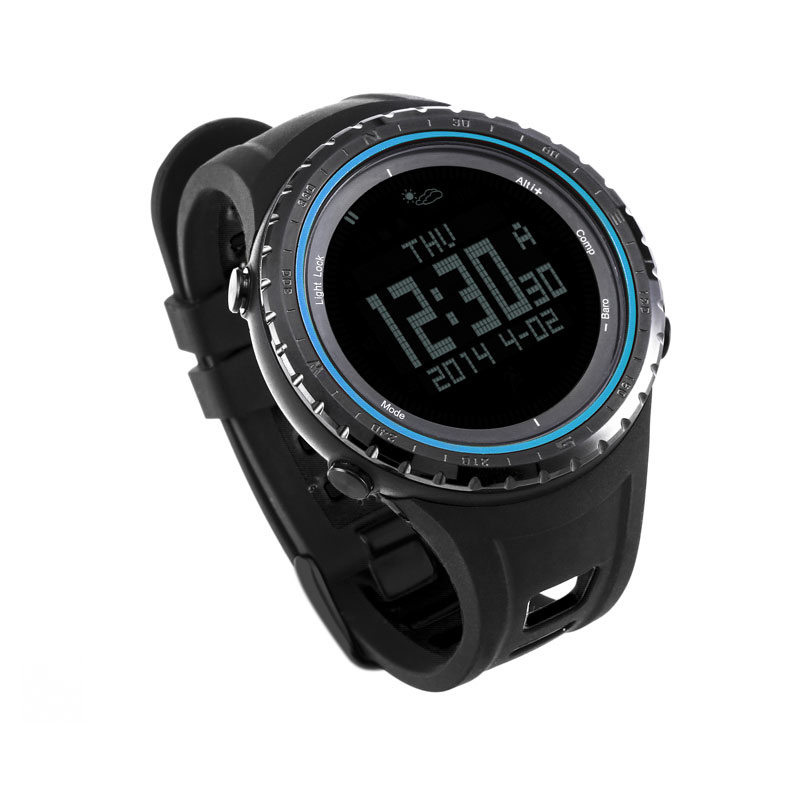 SUNROAD Digital Outdoor Men Watch 5ATM Waterproof Altimeter Barometer Compass pedometer Sports Clock High Quality Blue