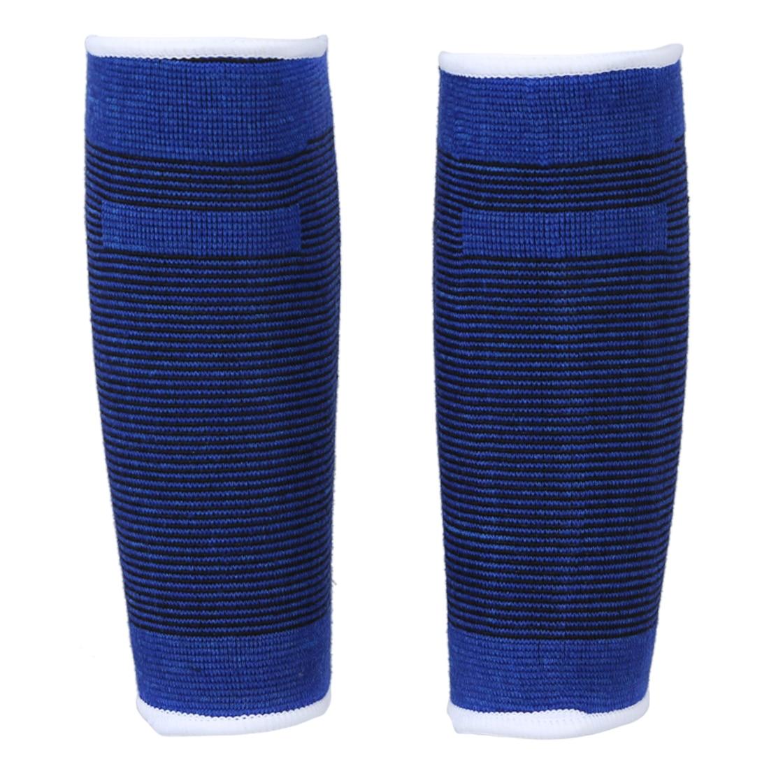 2 Pcs Sports Black Blue Striped Calf Leg Sleeves Support Elastic Protector
