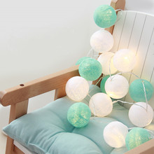 20PCS/SET cotton ball string lights fairy party wedding home garden garland decor mint Mint+white,AA battery/USB/Plug in powered