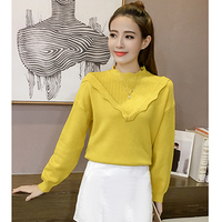 Korean Version Of The Semi High Collar Lotus Leaf All The Code Lantern Sleeves Knitted Sweater