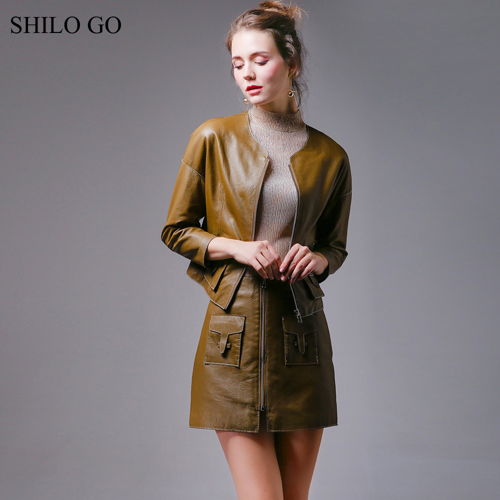 SHILO GO Leather Sets Womens Autumn Fashion Sheepskin Genuine Leather Suit O Neck Loose Zipper Leather Jacket Pencil Skirt