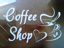 for coffee shop window signs doors vinyl graphics decals wall art cup cafe van front