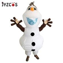 여자를위한 JYZCOS Olaf 눈사람 의상 남자 성인 Purim 할로윈 풍선 크리스마스 Blowup 애니메이션 코스프레 멋진 드레스 마스코트