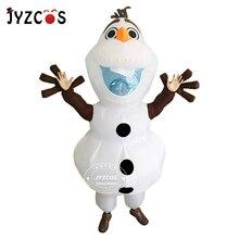 JYZCOS Olaf kardan adam kostümleri kadın erkek yetişkin Purim cadılar bayramı şişme noel Blowup Anime Cosplay süslü elbise Up maskotu