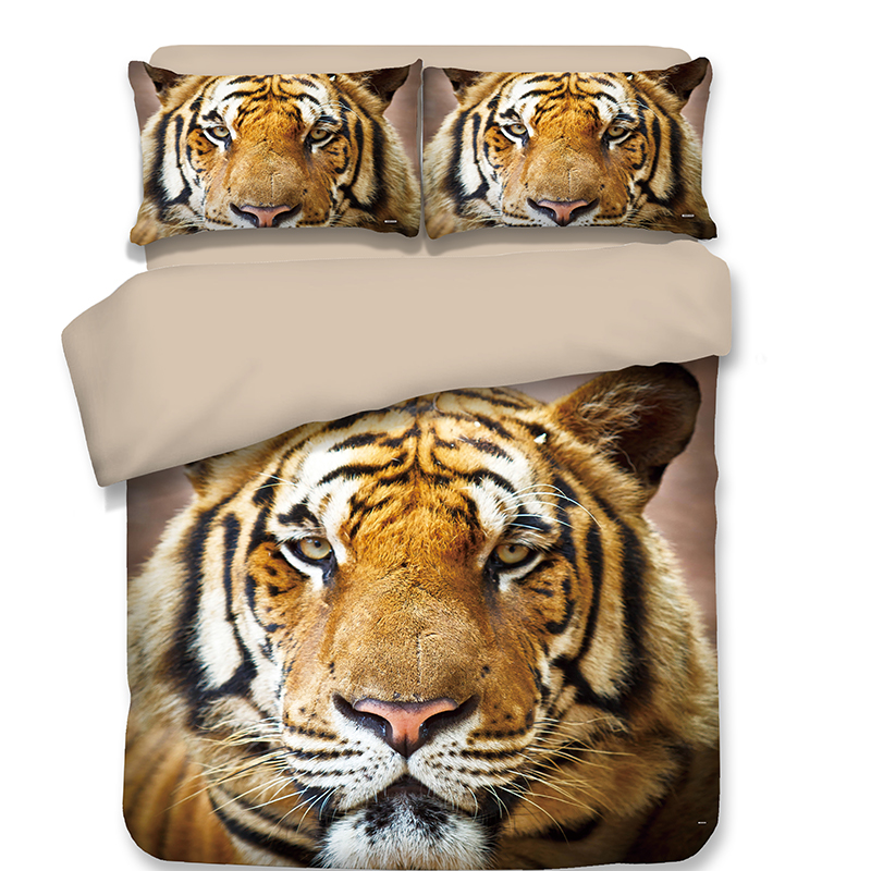 New style Ferocious Tiger Bedding Sets 3pcs soft Good quality Adult brown bedclothes duvet cover quilt
