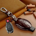 Genuine leather car key case cover wallet bag for mercedes benz C E S class w203 w210 w211 keyrings holders keychain accessories