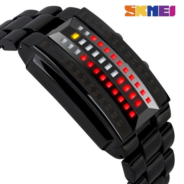 SKMEI LED модные мужские часы Элитный бренд из нержавеющей стали спортивные цифровые наручные часы 50 м Водонепроницаемость Relogio masculino 1013