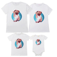 Family Look Clothes 2019 Summer Matching Theme Vacation Dogs Print T Shirt Mom Mommy Dad Baby O-neck New