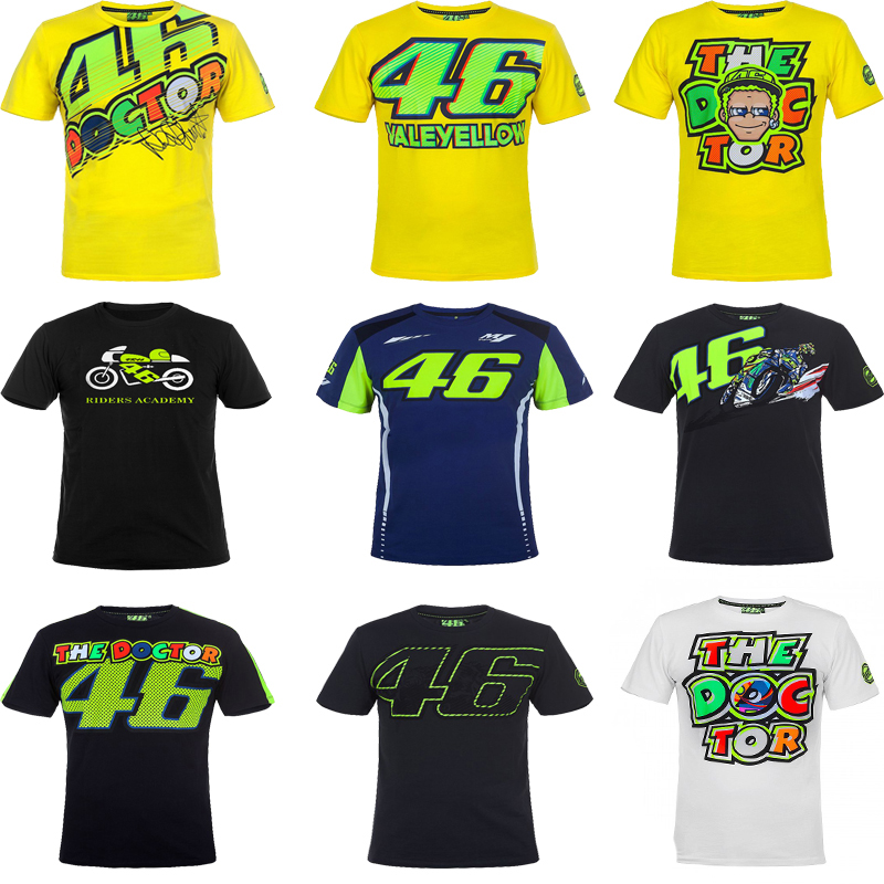 VR46 Valentino Rossi T-Shirt Moto GP 46 Il Medico Firma Moto Corse Sport per Yamaha T shirt