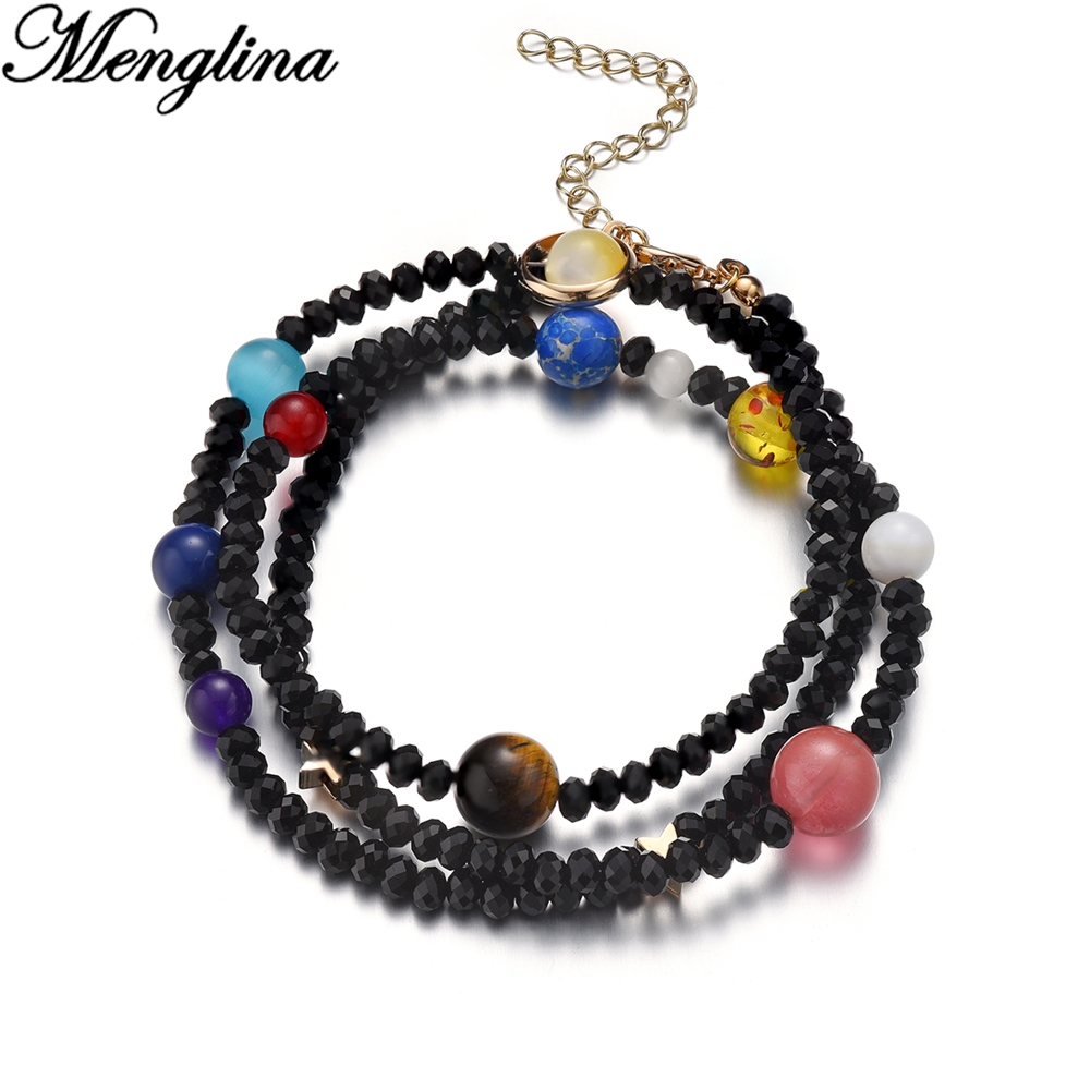 Drop Shipping Universe Galaxy Nine Planets Solar System Star Natural Stone Beads Bracelet Bangle Women Men Astronomy Space Gift